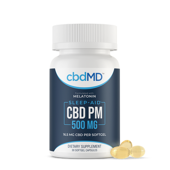 cbdMD CBD PM Softgel Capsules 500mg - 1,000mg CBD PM in a convenient capsule form! Each CBD softgel packs 16.5 mg of CBD and 3 mg of melatonin, along with vitamin E and our unique blend of soothing herbs. Precisely measured and easy to swallow, our CBD softgel capsules are an excellent option for at home or on the road