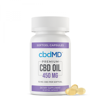 cbdMD CBD Softgel Capsules 450mg - 3,000mg cbdMD's CBD softgels provide a quick and convenient way to get your daily CBD. Made with wholesome ingredients, CBD softgels provide support in a fixed amount per capsule so you know exactly how much you're getting. We've got just what you need to enhance your wellness routine – all in a pre-measured, easy-to-use capsule!