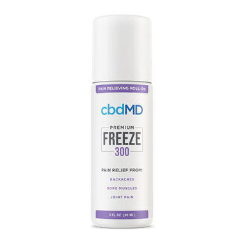 cbdMD CBD Freeze Pain Relief 300mg - 3,000mg cbdMD's Freeze Pain Relief Gel combines the proven pain-relief properties of menthol with the natural power of domestically sourced CBD. This CBD topical provides non-greasy, deep skin absorption and contains our Superior Broad Spectrum CBD formula from non-GMO USA hemp.