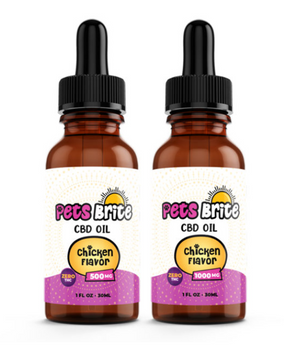 Pets Brite Oil Tinctures 500mg - 1,000mg (Flavors: Chicken, Bacon, Peanut Butter) Pets Brite CBD Oil was developed specifically for your four legged companion. Pets Brite CBD Oil is made with the purest CBD on the market and has absolutely no THC in it.