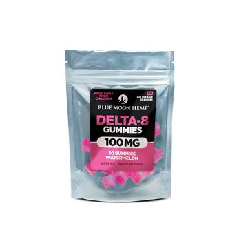 Blue Moon Hemp Delta 8 - Watermelon Gummies 100mg - 2,000mg Delta 8 THC is the middle ground between THC and CBD. Delta-8 is a different form of THC that is found within the hemp plant. While Delta-9 is what is responsible for the psychoactive properties of the plant family, Delta-8 is chemically different. If you're new to delta 8, start with half a gummy and wait an hour before taking more. These gummies are potent, so don't say we didn't warn you.