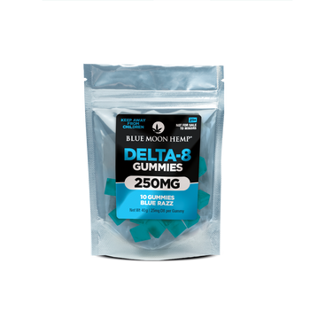 Blue Moon Hemp Delta 8 - Blue Razz Gummies 250mg - 2,000mg Delta 8 THC is the middle ground between THC and CBD. Delta-8 is a different form of THC that is found within the hemp plant. While Delta-9 is what is responsible for the psychoactive properties of the plant family, Delta-8 is chemically different. If you're new to delta 8, start with half a gummy and wait an hour before taking more. These gummies are potent, so don't say we didn't warn you.