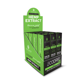 CBDResellers offers The lowest prices for a CBD Drip Onyx (Referred to as ECODRIP Onyx) 12 Count Case. Add to your favorite E-Liquid, Vape directly or use sublingual. The Number 1 CBD