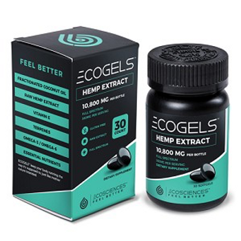 Eco Sciences ECOGels CBD Gel Caps | 750MG Of Organic CBD In 30 count Bottles or in a 144 Count Master Case