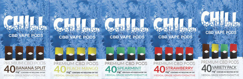 Chill CBD Pods for Juul   CBD Vape Pods - Chill CBD Juul Compatible Pods   160MG's of US Sourced Organic CBD   4 Packs   4 delicious flavors. Get Your Juul CBD Vape Pods Only On ELiquidUniverse.com- CBD Vape Pods Compatible with Juul device! WE ARE NOT AFFILIATED WITH JUUL. *Juul is a trademark owned by Juul Labs
