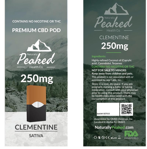 Another super sativa from Naturally Peaked, Clementine has a delicious, fruity taste, and is sure to leave you feeling clear-headed and mentally awake. To maximize the cognitive benefits of this cartridge, you may find it more prudent to only take low doses of CBD, as higher doses can make you sleepy. Naturally Peaked 100% Organic CBD Vape Pod. 250MG of CBD per Pod. Each Package Contains 1 Vape Pod