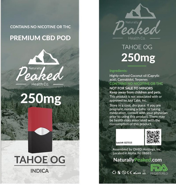 This is an indica-dominant cartridge that is noted for having strong relaxation properties. The mood-boosting effects may be beneficial for those affected by depression, and the terpenes in this cartridge could also help to stimulate appetite.Seeking a natural sleeping aid? Then Tahoe OG might be the best cartridge for you in the Peaked range. This product is renowned for having a pungent, earthy and piney flavor. Naturally Peaked 100% Organic CBD Vape Pod. 250MG of CBD per Pod. Each Package Contains 1 Vape Pod