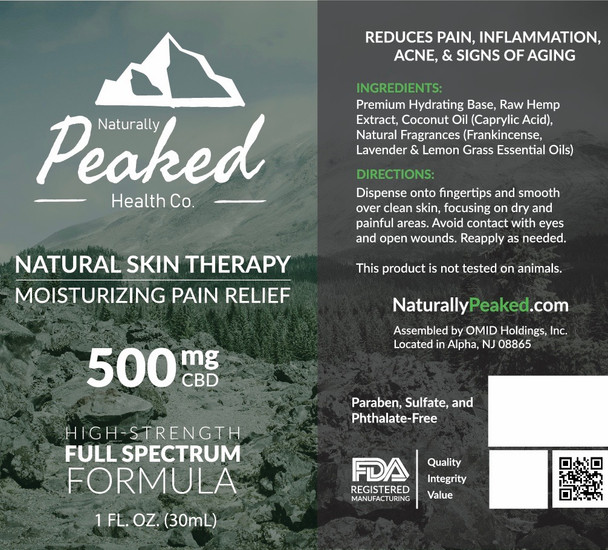 Naturally Peaked Moisturizing Pain Relief CBD Infused Lotion | Available in Two Different Full-Spectrum Strengths; 250MG and 500MG.