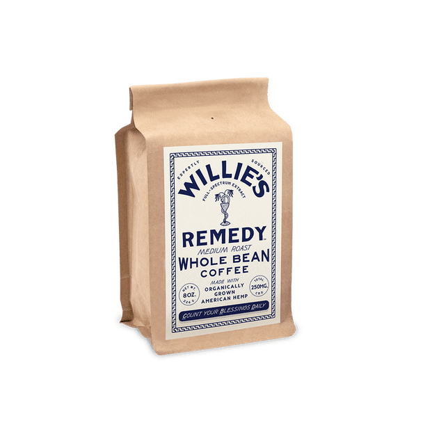 Willie's Remedy Medium Blend 8oz Whole Bean Coffee, 250mg CBDSweet flavors of toasted marshmallow and graham crackers with subtle milk chocolate undertones create a perfect balance in this full-bodied blend. Pre-ground.