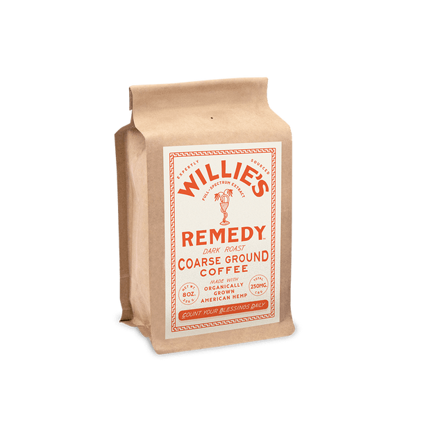 Willie's Remedy Dark Blend 8oz Whole Bean Coffee, 250mg CBDThis classic dark roast is robust and rich with a bold cocoa flavor dominating the cup and subtle elements of spice and toasted grain lingering on the finish.