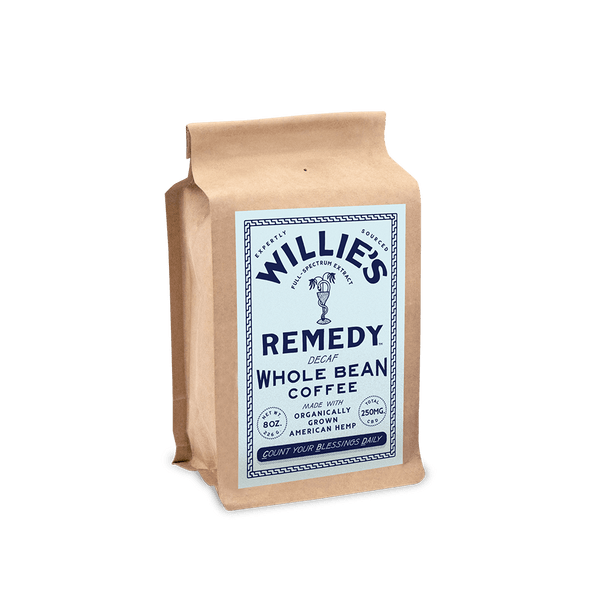 Willie's Remedy Decaf Blend Whole Bean 8oz Coffee, 250mg CBDThis rich coffee is naturally decaffeinated without the use of chemicals and makes a full-bodied cup with flavors of chocolate syrup and a mild acidity. All the flavor, ritual and anti-oxidants of coffee, plus the calm from cannabis.