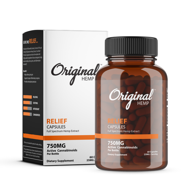 Infused with Boswellia Serrata, Turmeric 95% and 25mg Full Spectrum Hemp Extract. Our Relief Formula Capsules are doctor formulated with high-quality ingredients that are designed to help ease everyday aches, pains, and inflammation naturally.