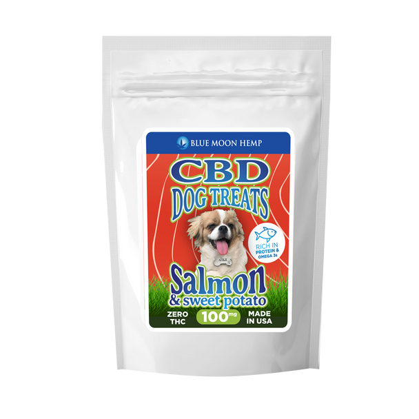 Give your furry friend what they deserve with these CBD-infused pet treats. Our Blue Moon Hemp's CBD Dog Treats are designed with only one thing in mind — your pet's health. CBD, Savory Salmon and Sweet Potatoes make a delicious yet beneficial treat to put your pups at ease. It's a delicious. nutritious way to restore balance for your pet!