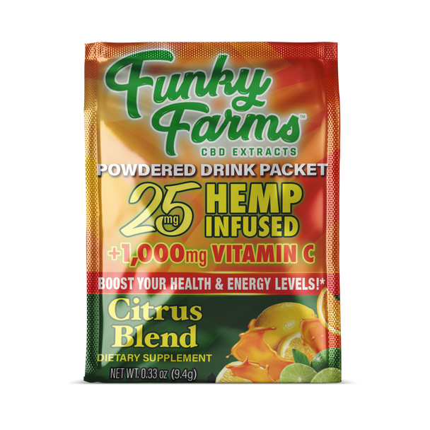 Funky Farms brings us thisrevitalizingTropical Citrus CBD hemp infused drink mix powder! The tantalizingflavors of orange, kiwi, and natural tropical flavorsinfused with high quality CBD Hemp. Plus, with ingredients like B vitamins, Echinacea, zinc, and vitamin C, your immune system will thank you for all the support.This is one mid-day pick-me-up that you can feel good about indulging in.