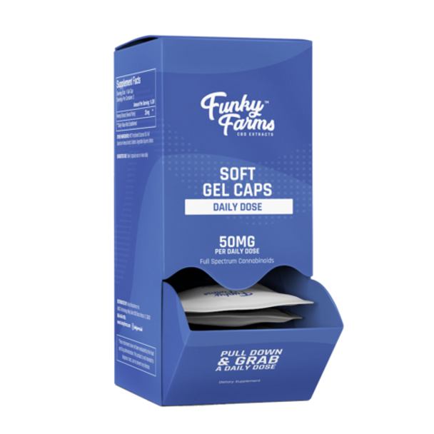 For those who prefer consuming CBD in straightforward capsule form versus vaping or tincture delivery systems, Funky Farms CBD Soft Gel Caps are some of the best that money can buy. Plus, with no THC, there are never any psychoactive effects or unwanted intoxication. Combined with the absorption power of coconut-derived MCT oil, you can be sure you're enjoying the nutritive magic of CBD extract at its finest. Our conveniently dosed full spectrum hemp extract capsules are high-potency for increased vitality and therapeutic effectiveness.