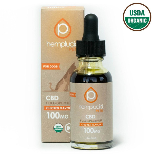 USDA Organic Hemplucid Pets CBD tincture is made with organic cold-pressed hemp seed oil enhanced with natural chicken flavoring. USDA Organic full-spectrum CBD, Formulated for small to medium pets, Can be mixed with food or given orally USA grown & manufactured, Less than 0.3% THC