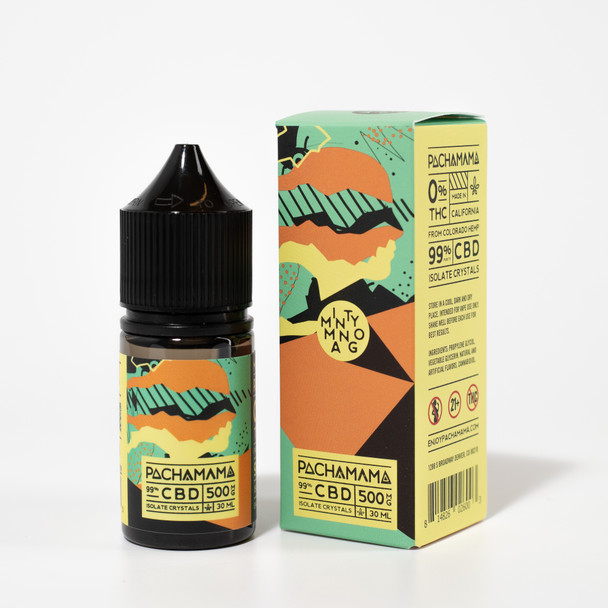Pachamama CBD Vape Minty Mango naturally grown industrial hemp is harvested and delivered to our CDPHE (Colorado Department of Public Health and Environment) certified food-grade laboratory. Then, we extract from quality, nutrient dense, whole plants and distill twice for purity. Our CBD isolate products contain a minimum purity of 99% isolate crystals. We use industry leading third-party testing facilities to ensure our CBD isolate is free of any pesticides or heavy metals. This process is repeated with every extraction, so our customers are provided with the highest quality CBD products.