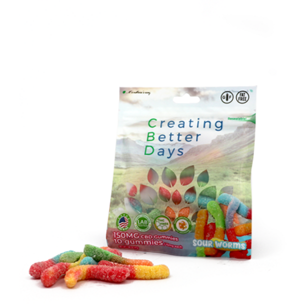 CBD Infused Gummies. Safe, gentle, and effective, this formulation provides naturally occurring antioxidants to support a healthy endocannabinoid system. This formula and all Creating Better Days formulas are 100% THC-free and non-psychoactive.