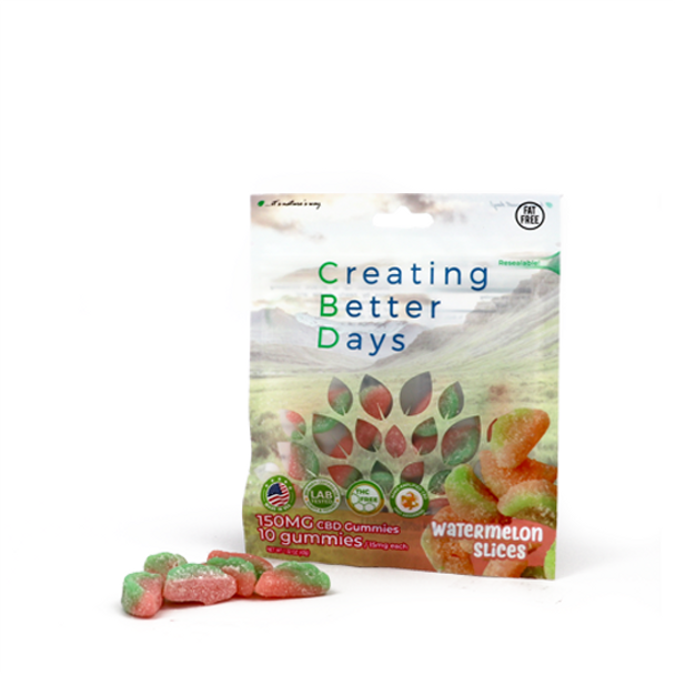 CBD Gummy Watermelon slices with fast-acting nano-amplified CBD for quick relief. Safe, gentle, and effective, this formulation provides naturally occurring antioxidants to support a healthy endocannabinoid system. This formula and all Creating Better Days formulas are 100% THC-free and non-psychoactive.