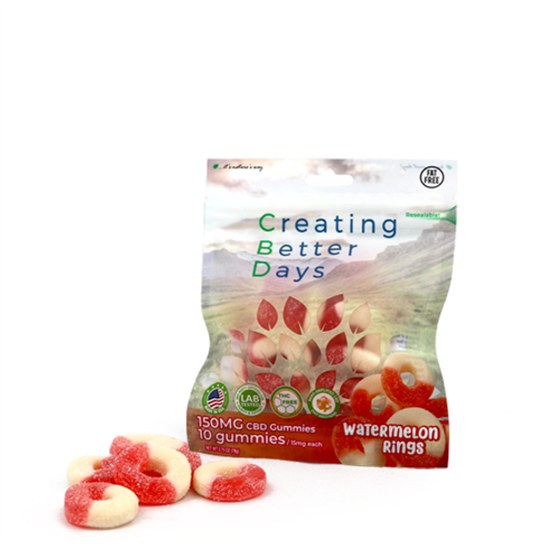CBD Watermelon Rings with fast-acting benefits of nano-amplified CBD. Safe, gentle, and effective, this formulation provides naturally occurring antioxidants to support a healthy endocannabinoid system. This formula and all Creating Better Days formulas are 100% THC-free and non-psychoactive.