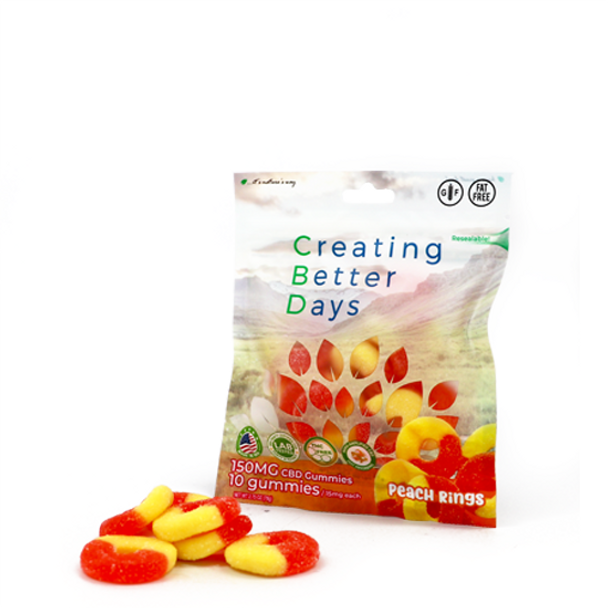 CBD Peach Rings with fast-acting benefits of nano-amplified CBD. Safe, gentle, and effective, this formulation provides naturally occurring antioxidants to support a healthy endocannabinoid system. This formula and all Creating Better Days formulas are 100% THC-free and non-psychoactive.