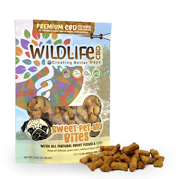 Premium CBD Dog treats are wheat-free and grain-free. Each biscuit is formulated with the nano-amplified CBD and each bag of delicious treats comes with 60 – 2.5mg wheat-free, corn-free, grain-free treats. The delicious blend of sweet potato is a perfect way to treat your pet. Made for any sized dog. This formula is 100% THC-free and non-psychoactive.