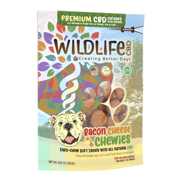 Creating Better Days Nano-CBD Bacon Cheese Chewies 150mg are free of wheat, corn and soy while serving a delicious blend of bacon and cheese. As a soft treat alternative, Bacon Cheese Chewies offer a dosage of CBD for dogs that prefer an easier-to-chew snack.