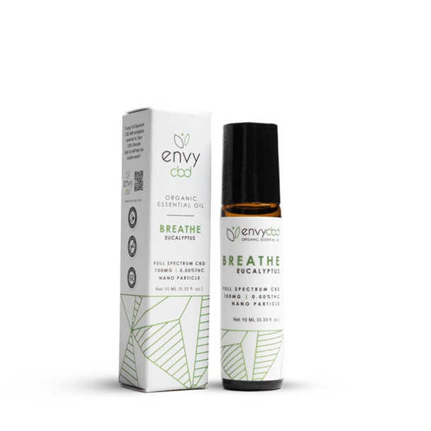 Breathe easy with Envy CBD's Essential Oil Roller! Formulated with eucalyptus essential oil and 100mg of Full Spectrum CBD, expect an increase in relaxation and calmnessas those airways open up, allowing you to take control of your day.
