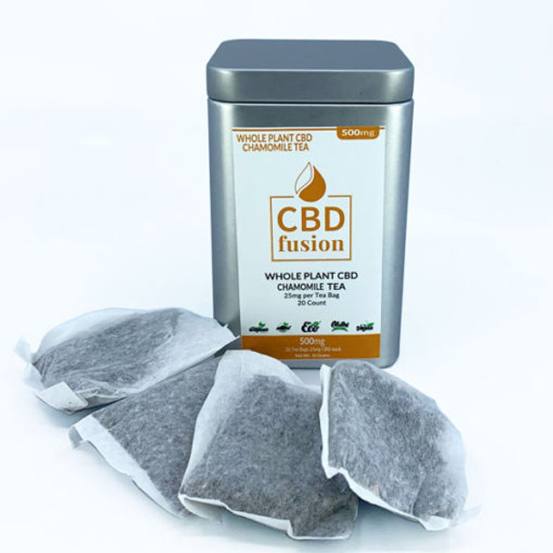 CBD Fusion Full-Spectrum Whole Plant CBD Tea paired with a refreshing natural chamomile. 20 tea bags with 25mg CBD Fusion full-spectrum whole plant hemp with a natural chamomile up to 0.3% THC