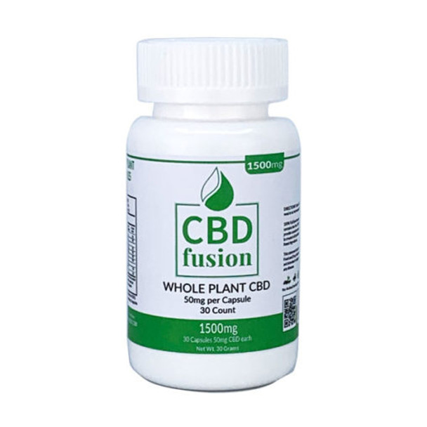 CBD Fusion 1500mg CBD Whole Plant Capsules (50mg each/30ct).  Vegan whole plant using 100% Full Spectrum CBD. This is a 100% Vegan product which we are sure will satisfy your daily CBD requirements.