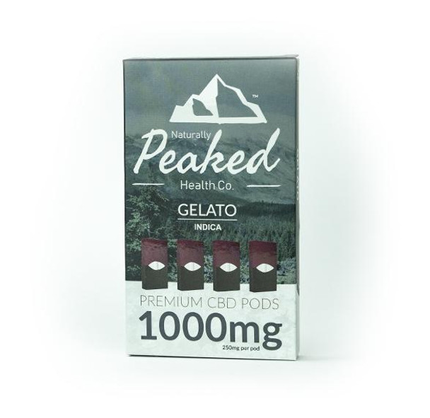 Peaked CBD Vape Pods -1000MG OF USA SOURCED ORGANIC CBD IN A 4 PACK | 100% Organic CBD Cartridges | 250MG of CBD per Pod