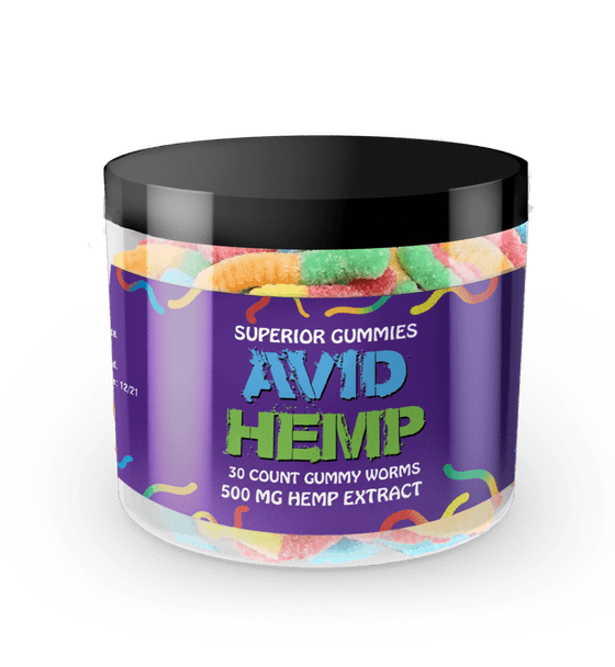 Avid Hemp CBD Gummy Worms 500mg 30ct gummies are individually dosed in precise milligrams and offer an excellent way to take consistent amounts of CBD. Gummies are also a tasty alternative for folks who aren't fond of the flavor of CBD oils. All of our products are tested by a third-party lab and contain less than .03% delta 9 THC.
