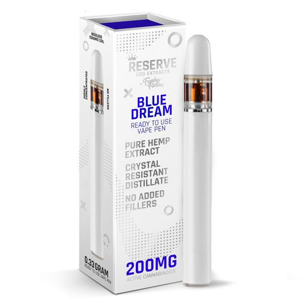 Funky Farms Blue Dream CRD Disposable Vape Pen 0.3mL (200mg) the best natural vape extract in the industry. Single use and ready to vape, our Broad Spectrum Crystal Resistant Distillate (CRD) comes from a US-grown farm and lab. This product is formulated with no added cutting agents and no fillers, just pure hemp and terpenes!