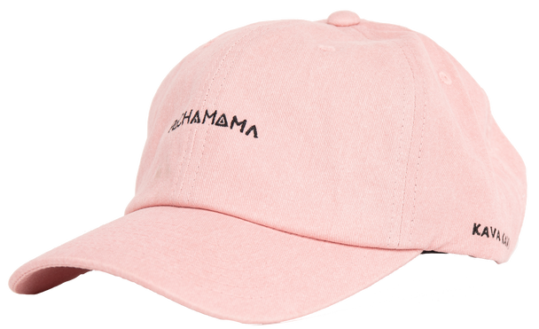 Pachamama The Kava Kava Hat. This pink dad hat incorporates a sewn-in black Pachamama logo in the front and subtle Kava text on the side.