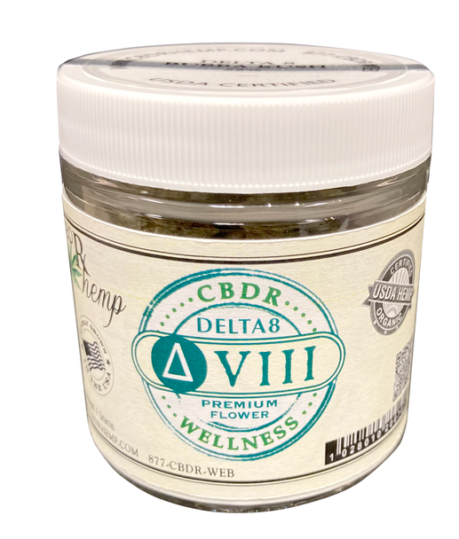 CBDR Hemp   Premium Delta 8 Flower. Premium hemp flower infused with Delta-8 THC. This Grape Ape flower is excellent for anyone looking for soothing, relaxing smoke without too much intensity.