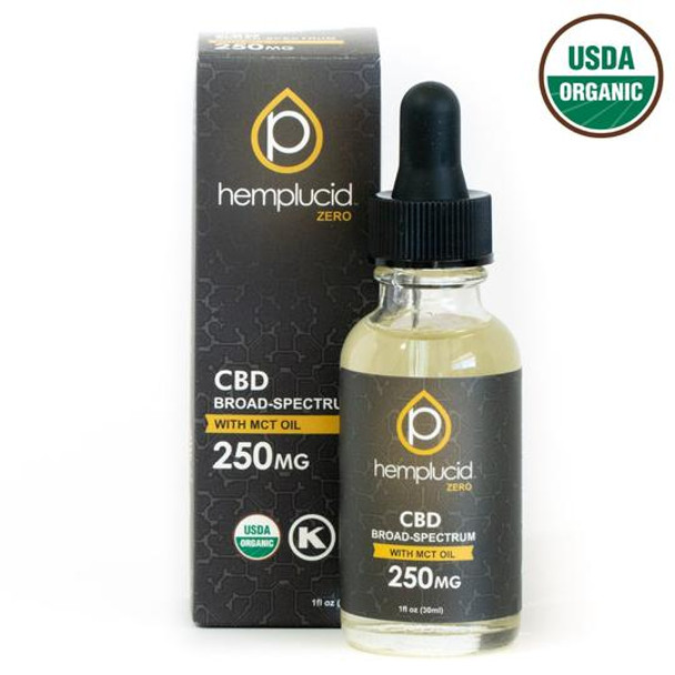 USDA Organic Hemplucid Zero Broad-Spectrum CBD in MCT Oil 250mg - 2,000mg. This Hemplucid Zero tincture pairs broad-spectrum CBD with organic fractionated coconut oil and contains non-detectable levels of THC. Hemp extracts are naturally fat-soluble and mix easily with MCT oil, allowing efficient absorption. This mild-tasting tincture is great for sensitive palates and provides clean fuel for the body in the form of healthy fats.