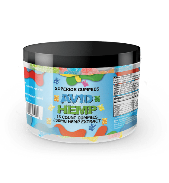 Avid Hemp CBD Gummy Bears 250mg 15ct  provide a delicious and convenient way to supplement your diet with cannabidiol. Portable CBD gummies are individually dosed in precise milligrams and offer an excellent way to take consistent amounts of CBD. Gummies are also a tasty alternative for folks who aren't fond of the flavor of CBD oils. All of our products are tested by a third-party lab and contain less than .03% delta 9 THC.