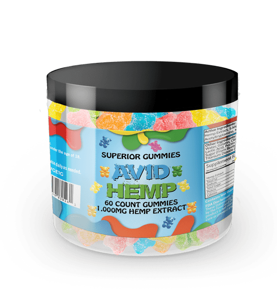 Avid Hemp CBD Gummy Bears 1,000mg 60ct  provide a delicious and convenient way to supplement your diet with cannabidiol. Portable CBD gummies are individually dosed in precise milligrams and offer an excellent way to take consistent amounts of CBD. Gummies are also a tasty alternative for folks who aren't fond of the flavor of CBD oils. All of our products are tested by a third-party lab and contain less than .03% delta 9 THC.