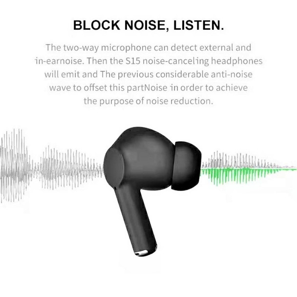 Blackpods Pro™ S15 Edition Bluetooth In-Ear Earbuds IPX5 Waterproof Stereo Earphones in-Ear Built-in Mic Headset with Active Noise Cancelling