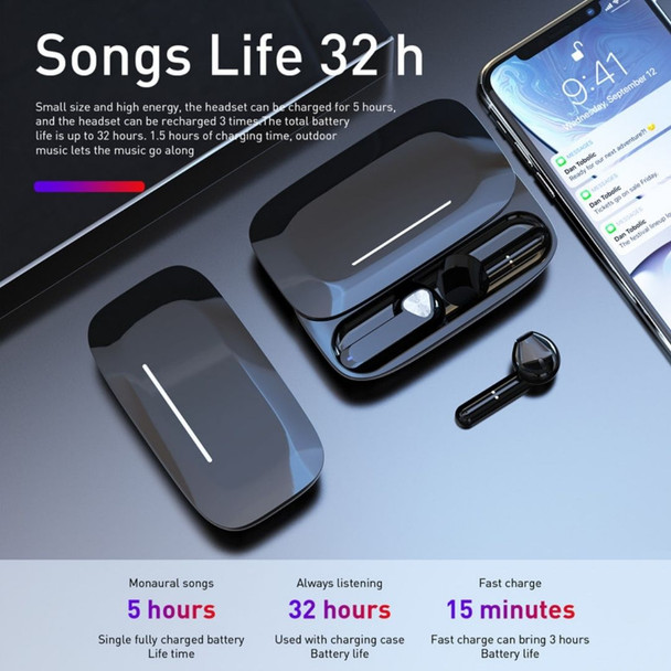 Wireless Bluetooth BE36 TWS Earbuds with Charging Case IPX5 Waterproof Noise Reduction Stereo Earphones in-Ear Built-in Mic Headset