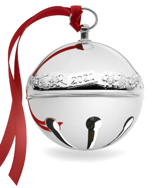 Wallace 2021 Sleigh Bell Silver Plated, 51st Edition Acorns & Snowflake Motif