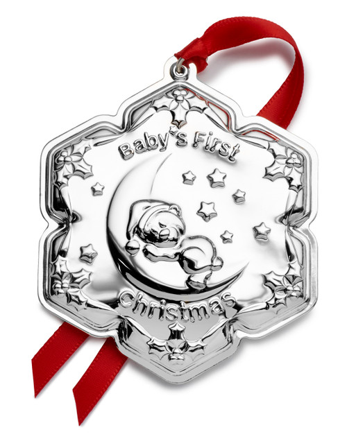 Empire 2021 Baby's 1st Christmas Bear on Moon in Sterling Silver