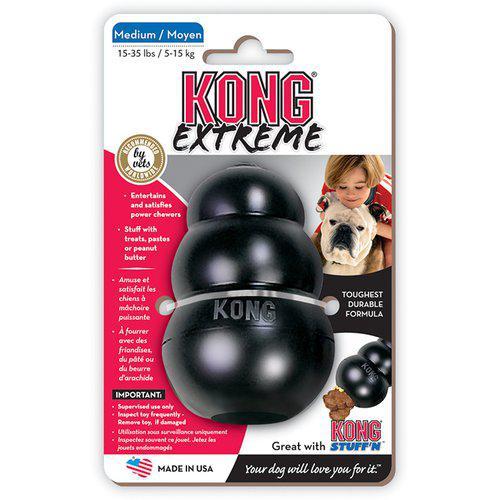 Kong Extreme Svart Gummileksak - M