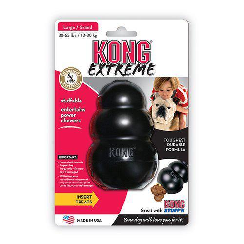 Kong Extreme Svart Gummileksak - L