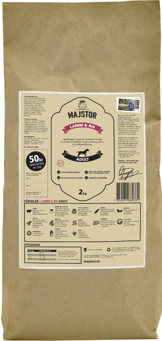 Lamm & Ris Adult Hundfoder - 2 kg