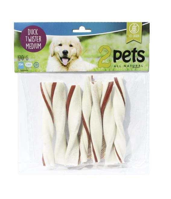 Tuggtwister med ankfilé för hund. - Medium