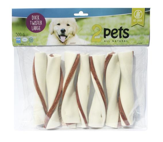 Tuggtwister med ankfilé för hund. - Large