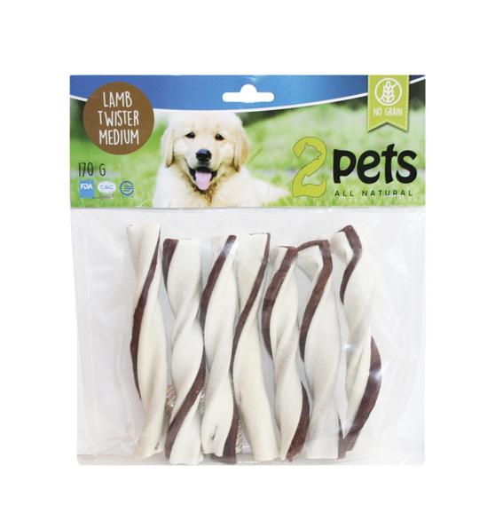 Tuggtwister med lamm för hund. - Medium