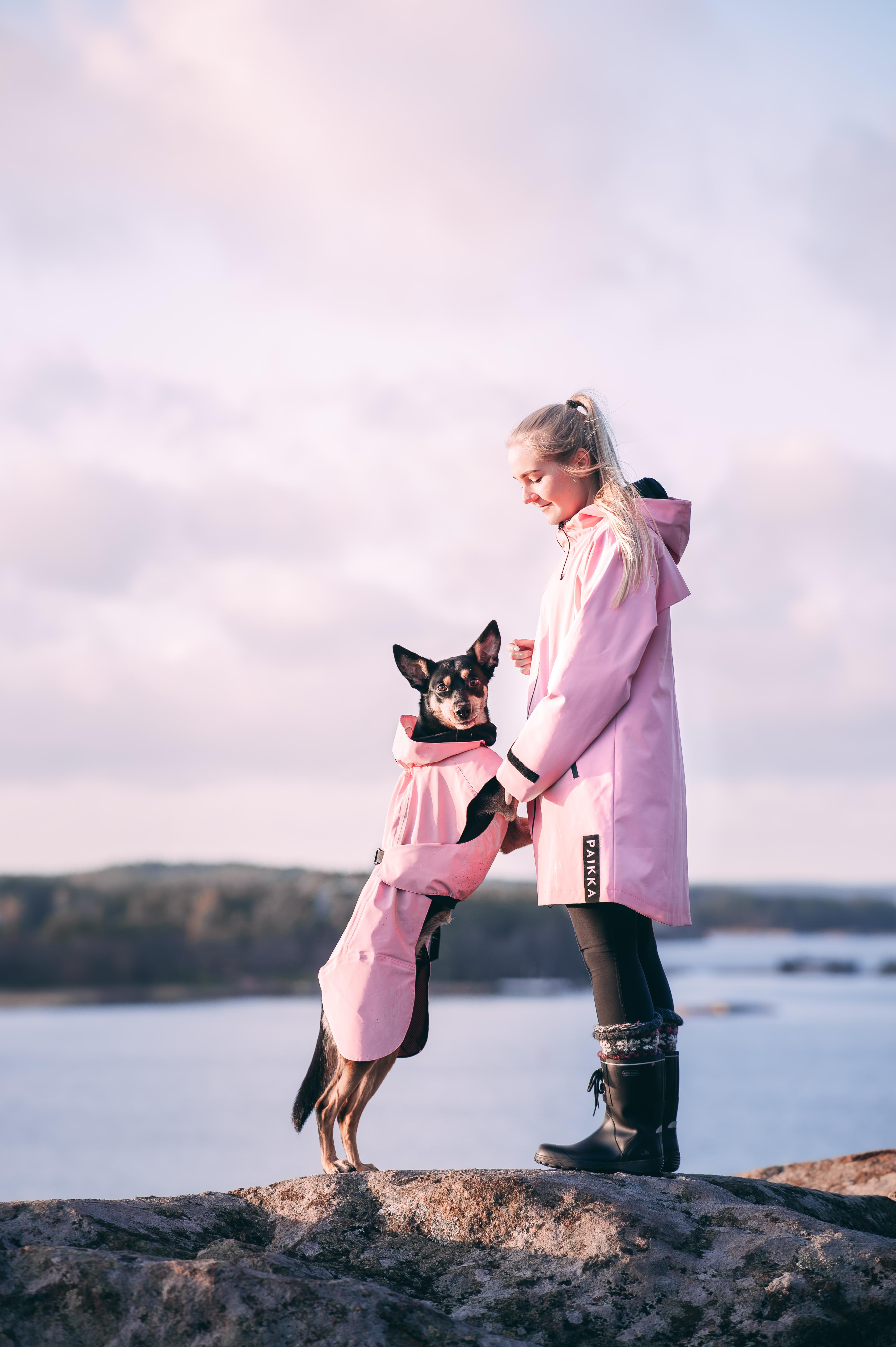 Reflekterande Regnjacka Hund, Rosa