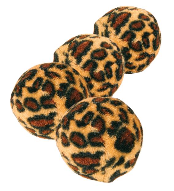 Leopardboll kattleksak 4-pack